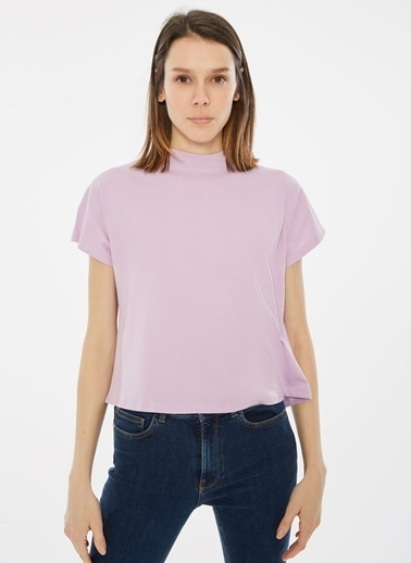 Loves You Dik Yaka Kare Form %100 Cotton T-Shirt Lila